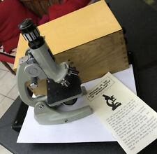 Microscopio Vintage Printz óptica estudiante modelo 300L Zoom 80x - 1200x Funda De Madera