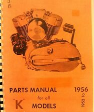 1952-1956 Harley-Davidson Parts Manual For All K Mdls. Illustrated Free SH