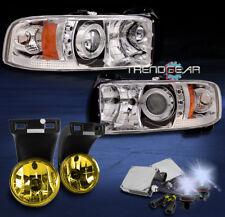 1994-2001 DODGE RAM HALO LED PROJECTOR HEADLIGHT+YELLOW FOG LAMP+8K HID KIT 2500
