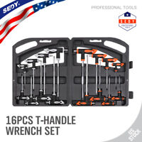 16Pc T-Handle Hex Key & Torx Star Key Set Ball End 2 Drive Allen Wrench Long