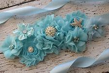 Flower Sash, Baby blue ocean sash , flower Belt, maternity sash