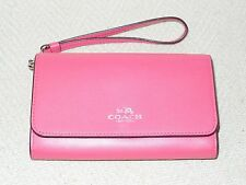 New COACH Boxed Phone Clutch Wristlet Wallet in Calf Leather Amaranth