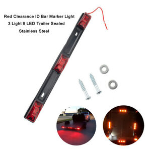 12V Car Red Clearance ID Bar Marker Light 9 LED Trailer Sealed Stainless Steel