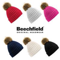 Beechfield Fur Pom Pom Chunky Beanie Caps & Hats Etc All Sizes and Colours