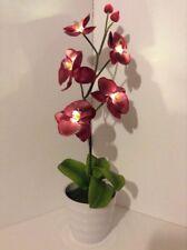 Artificial Silk Flower Arrangement Light Up Burgandy Orchid In White Vase