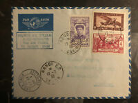 1938 Hanoi Vietnam First Flight Cover to Hong Kong via Air France 200 Flown FFC