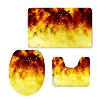Fire Pattern Toilet Seat Lid Cover U-shape 3 Pcs Contour Soft Rug Bath Non-slip