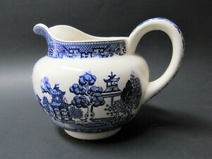 Vintage Blue Willow Pottery Cream Milk Pitcher - VGC