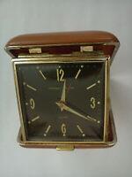 Vintage Pinney-Walker Clamshell Case Travel Alarm Clock Japan * Works Well *