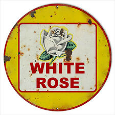 Extra Large Reproduction White Rose Motor Oil Sign 24 Round