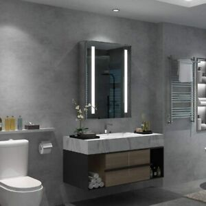 Illuminated LED Bathroom Mirror Cabinet Touch Sensor Demister and Shaver Socket