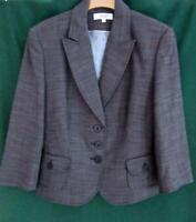 NEXT Uk 14 Dark Grey Woven Fitted Blazer Office Jacket Work Coat Pocket Detail
