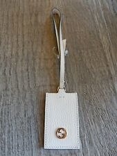 New GUCCI GG Pebbled leather Luggage Travel Tag Bag charm With GG Detail, Cream