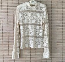 Cache L Top Ivory Stretch Lace Beads Sequins Turtleneck Semi Sheer Party EUC