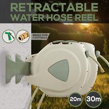 20m 30M Retractable Garden Water Hose Reel Rewind with Brass Fittings +SPRAY GUN