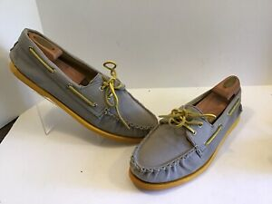 Mens Sperry Canvas A/O Grey/Yellow - 0532713 - Size 13 M Boat Shoes