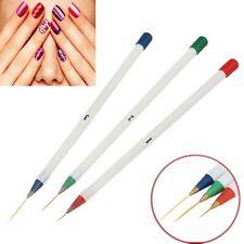 3Pcs Pinceaux Brosse Stylo Ongle Dessin Verni Art Nail Manucure Pédicure