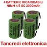 4x Batteria ricaricabile NiMh 4/5 SC 1,2V 2000mAh terminali saldare lamelle tabs