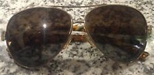 Tory Burch Pilot Sunglasses TY 6031 101/T5 Silver Gold Print Brown Polarized
