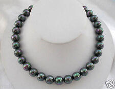 Rare Natural AAA 12mm Rainbow Black South Sea Shell Pearl Gemstone Necklace 18""
