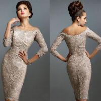 Vintage Lace Appliques Mother of the Bride Dresses/Groom 3/4 Sleeve Off Shoulder