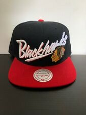Chicago Blackhawks NHL Vintage Mitchell & Ness Black Red Snapback Hat Cap
