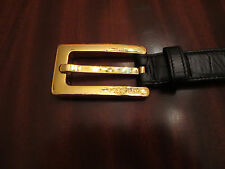 Classic Escada Black Leather and Gold Metal Belt   Size 36   - Made in Italy