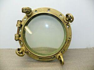 """Vintage 16 1/2"""" Brass Porthole 12"""" Glass (4) Dogs 12 Bolt Pattern Heavy Duty"""