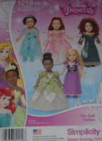 """Disney Princess 18"""" Doll Clothes fits American Girl Simplicity 1219 Sew Pattern"""
