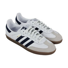 Adidas Samba Og Mens White Leather Low Top Lace Up Sneakers Shoes