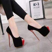 Womens Peep Toe Super High Heels Platform Sandals Stilettos Slip On Party Shoes