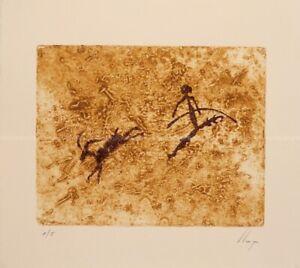 Llop - pinturas rupestres, Benifassar / la Sènia - grabado intaglio orig 38x33