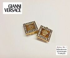 GIANNI VERSACE Earrings Vintage 1994 Medusa Rhinestones Clip-on Gold Square