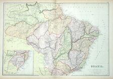 BRAZIL, Blackie original antique colour map 1882