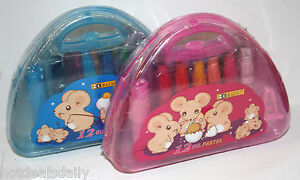 SET OF 12 OIL PASTEL COLORING CRAYONS CARRY CASE ART SUPPLIES FREE SHARPENER