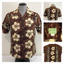 Vintage Ui Maikai Mens M Hawaiian Aloha S/S Shirt Brown Floral Tribal Pattern
