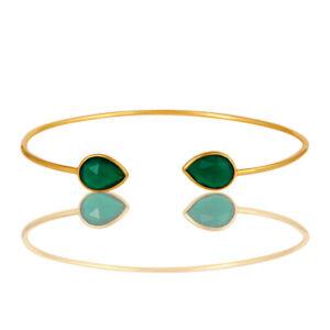 18K Gold Plated Green Onyx Gemstone Bezel Set Brass Cuff Bangle Bracelet Jewelry
