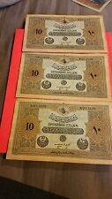 Turkey 10 Livres three running numbers UNC my best notes to offer