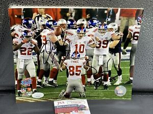 Eli Manning David Tyree signed 8x10 photo Giant Catch Super Bowl XLII JSA - Coa