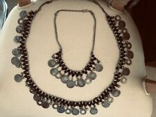 Atq. 43 SILVER INDIA COINS Unique Jewelry Necklace/Belt SET 80 Black ONYX STONES