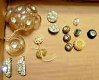 Lot 24 Vintage Mid Century Misc Rhinestone Buttons Metal Plastic Various