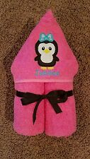 Personalized Penguin Blue Bow Hooded Towel