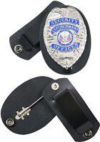 Black Leather Clip-On Swivel Snap Badge Holder