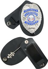 Black Leather Clip On Swivel Shield Style Badge Holder Security Police Bail Bond