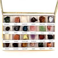 24 - tlg. Mineralien Set Rohedelsteine Sammlung in Box Edelsteine Rohsteine