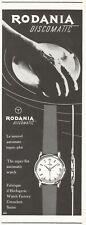 vintage 1957 print ad RODANIA DISCOMATIC Swiss watch watchmaking MID CENTURY ART