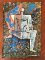 Pastel & Chalk Old Painting Cubist Drawing Signed Marcoussis Louis Modern Cubism
