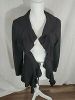 Women's Susan Lawrence Long Sleeve Back Ruffled Hem Open Cardigan Size Medium