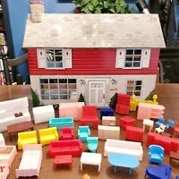 Vintage Marx Dollhouse Tin Metal Litho Two Story with Furniture