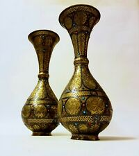VERY RARE 19th C ISLAMIC DAMASCUS PERSIAN TURQUOISE + SILVER INLAID BRASS VASES